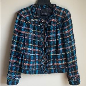 Carlisle black multi wool zipper blazer jacket